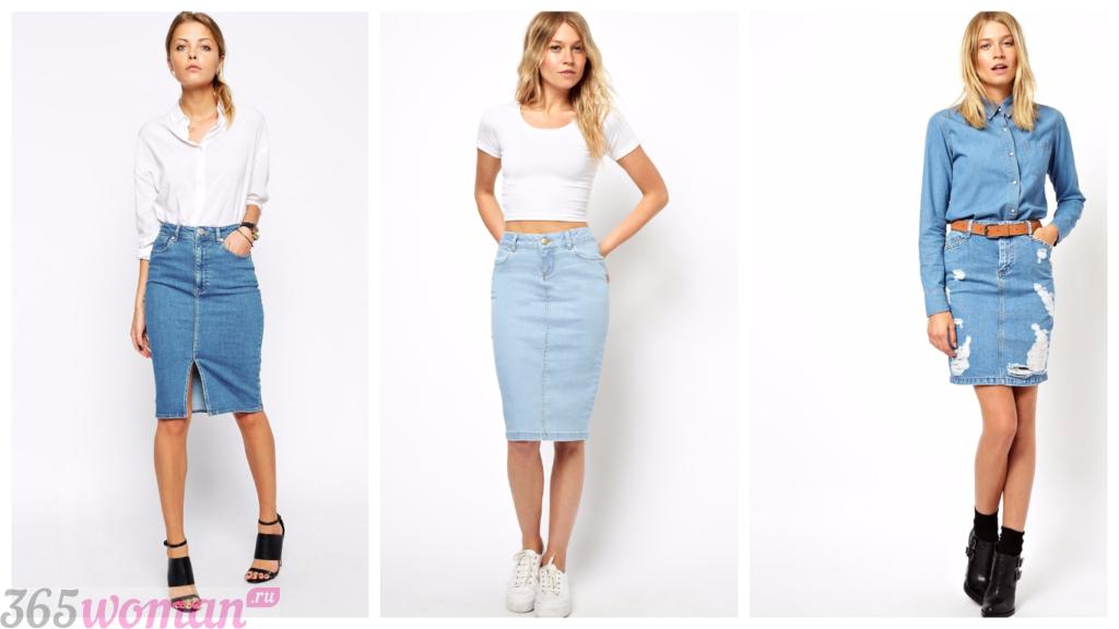 с чем носить джинсовая юбка-карандаш