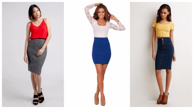 с чем носить юбку карандаш: образы с блузками