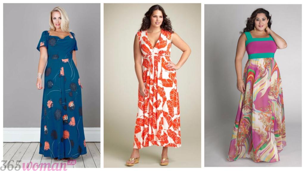 модные длинные платья для полных весна-лето 2018