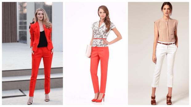Модные женские брюки осень-зима 2019 2020: классические красные коралловые белые