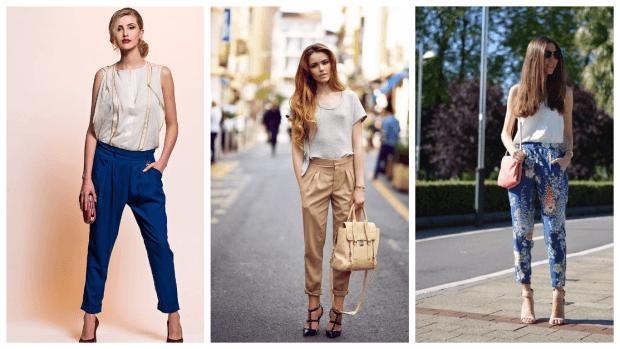 Модные женские брюки осень-зима 2019 2020: синие бежевые принт