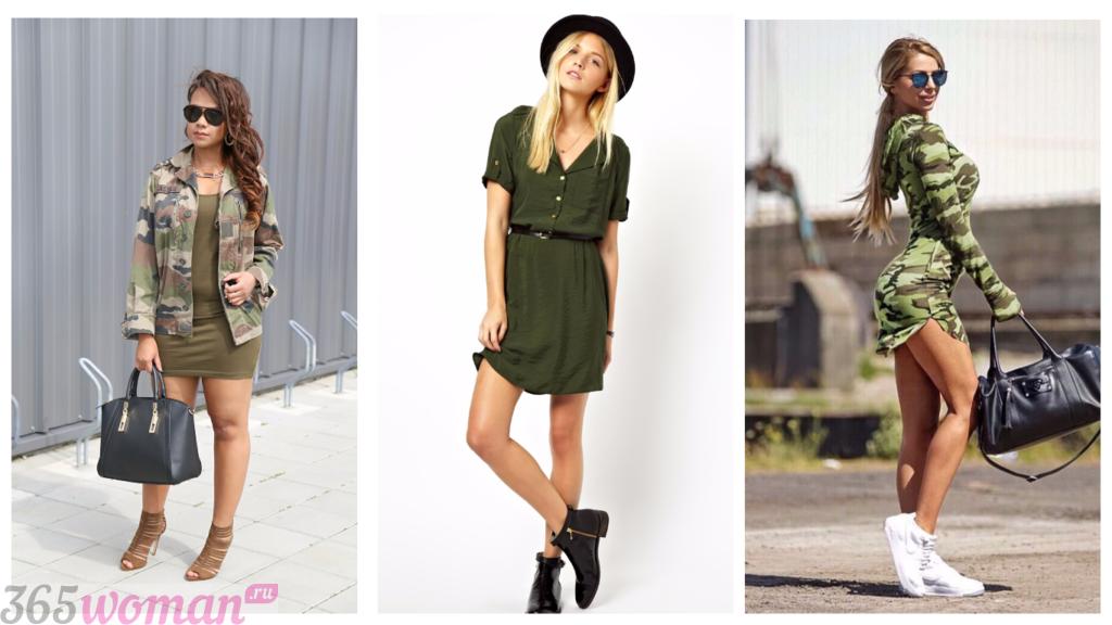 платья фасоны весна лето: милитари