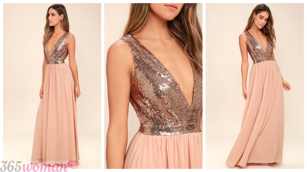 комбинированное вечернее платье мода 2018-2019