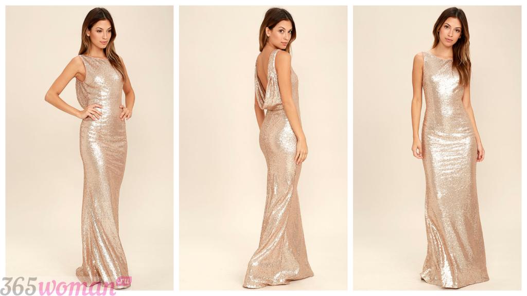 модные блестящие вечерние платья 2018-2019