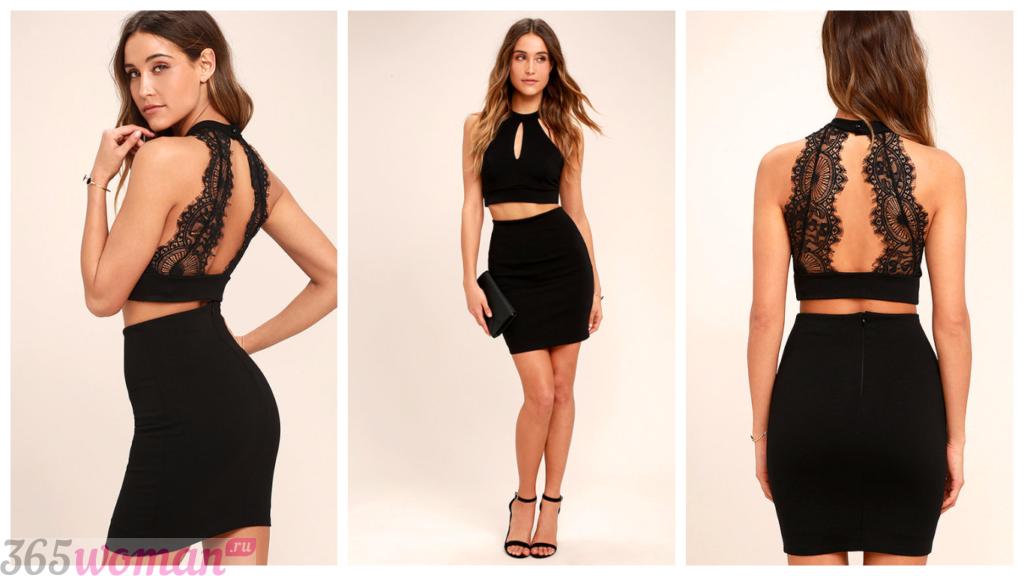 модное черное коктейльное платье 2018 для женщины фото новинка короткое