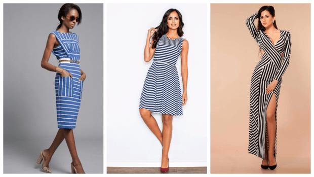 платья в полоску повседневные 2019 2020 модные