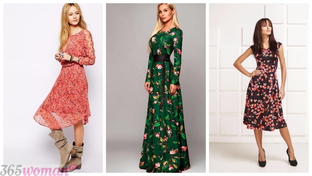платья с принтом повседневные 2018 2019 мода