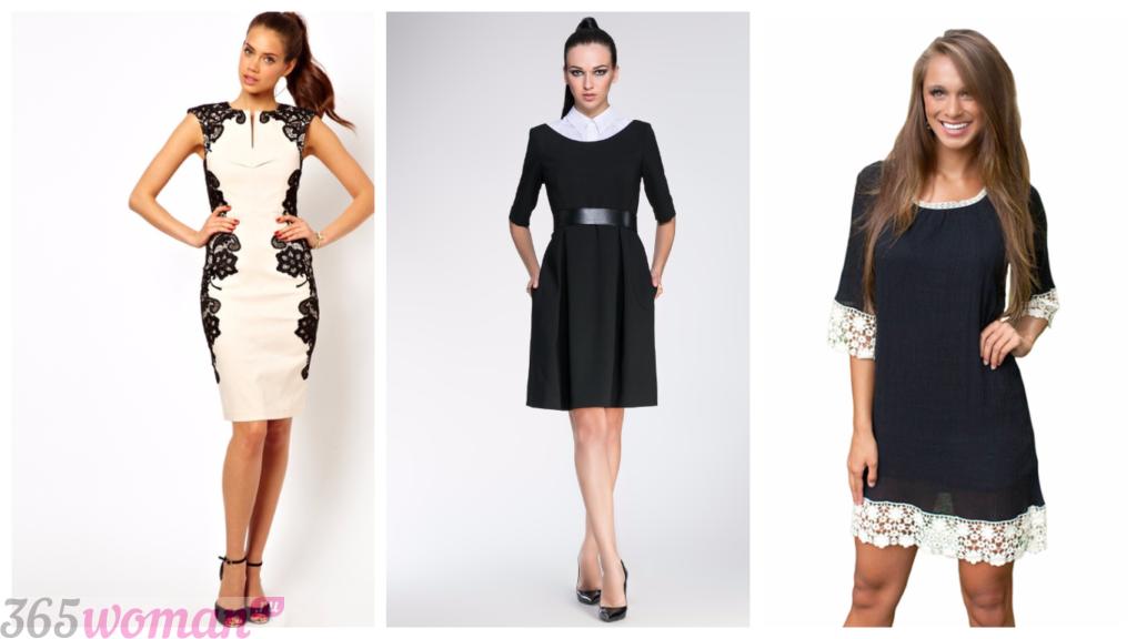 черно-белые платья 2018 2019 модные повседневные