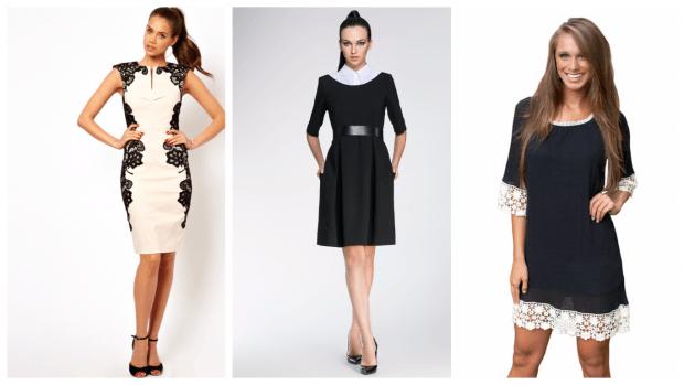 черно-белые платья 2019 2020 модные повседневные