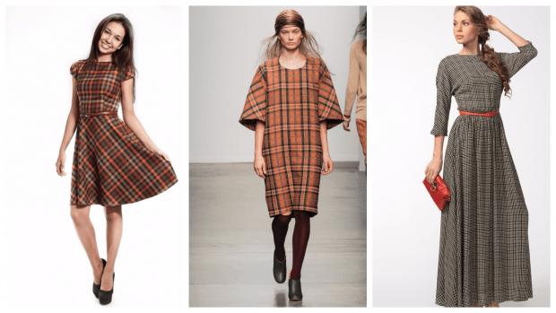 платья в клетку повседневные 2019 2020 модные