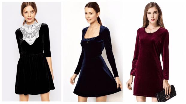 бархатное платье повседневное 2019 2020 мода