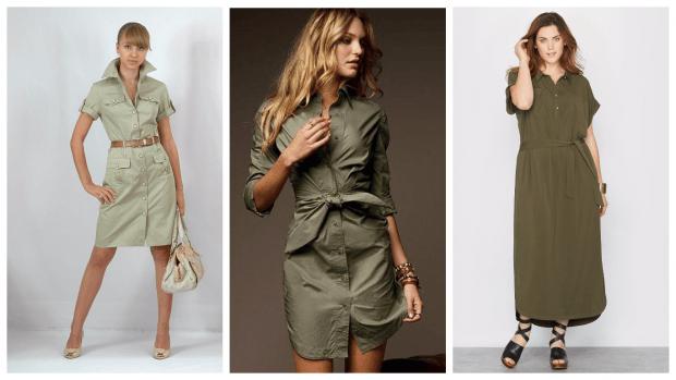 платья-милитари повседневные 2019 2020 мода