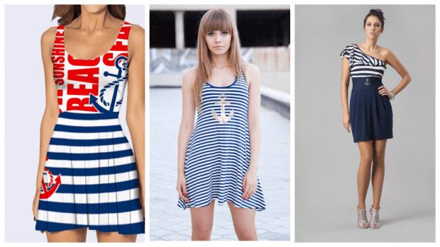 платья в морском стиле повседневные 2019 2020 модные