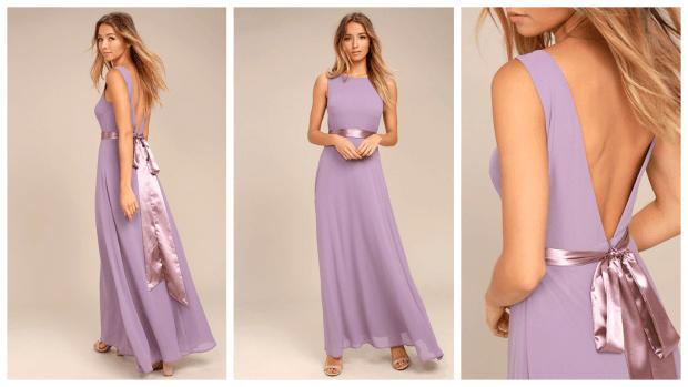 сиреневое платье из шифона