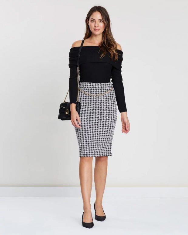 Модные юбки осень-зима 2019 2020: миди в клетку