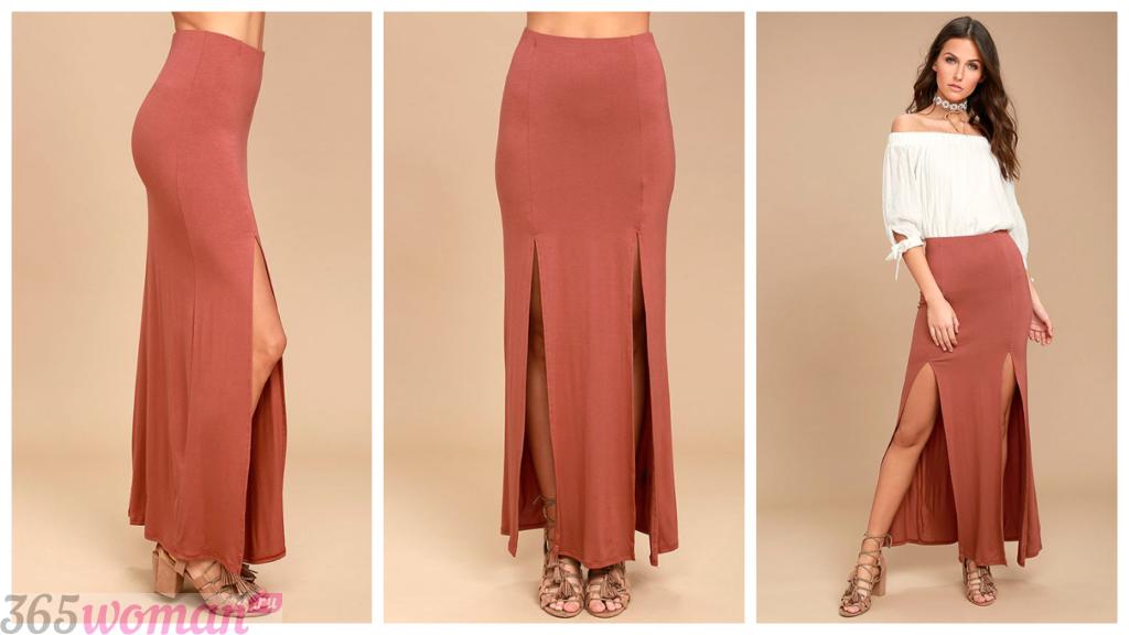 длинные юбки с разрезом осень-зима 2018 2019 года