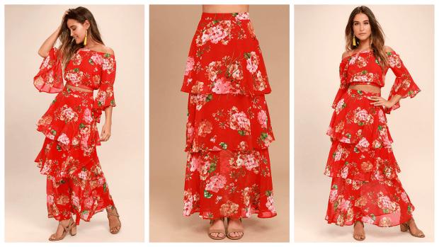 юбка макси длинная красная с принтом