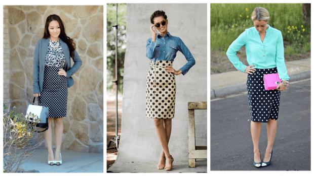 модные юбки осень-зима 2019 2020 года: в горох