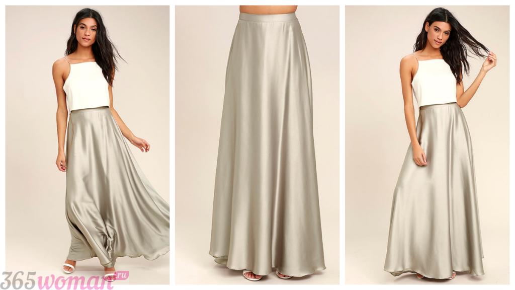 длинная юбка серебряная осень-зима 2018 2019 год модные тенденции фото тренды