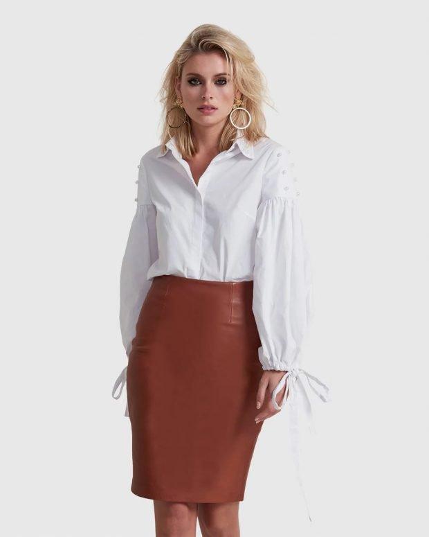 Модные юбки осень-зима 2019 2020: коричневая миди