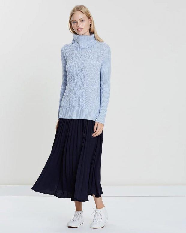 Модные юбки осень-зима 2019 2020: черная плиссе