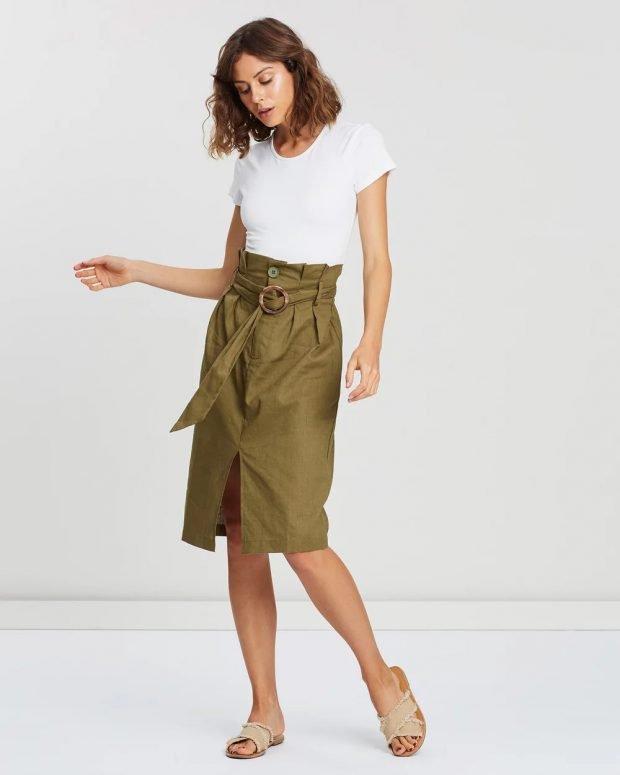 Модные юбки осень-зима 2019 2020: хаки с поясом