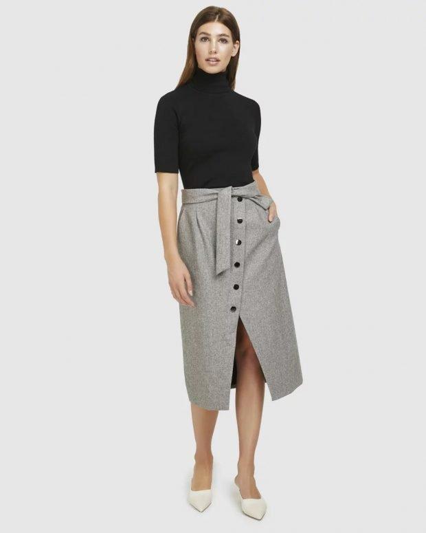 Модные юбки осень-зима 2019 2020: серая с поясом