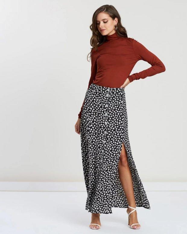 Модные юбки осень-зима 2019 2020: длинная принт звездочка