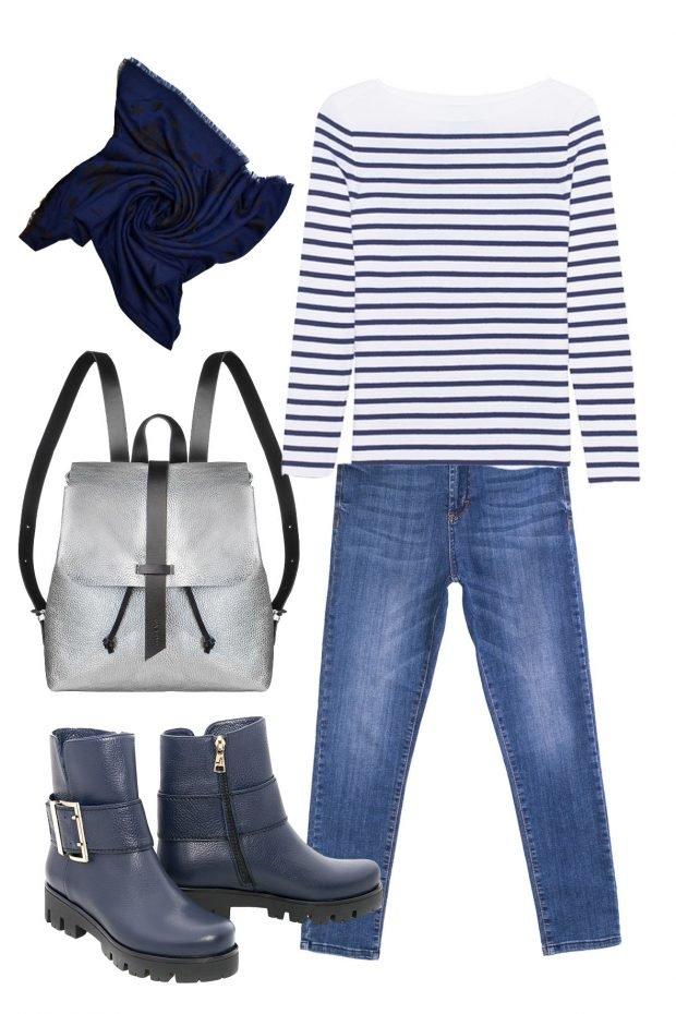 модный образ с рюкзаком