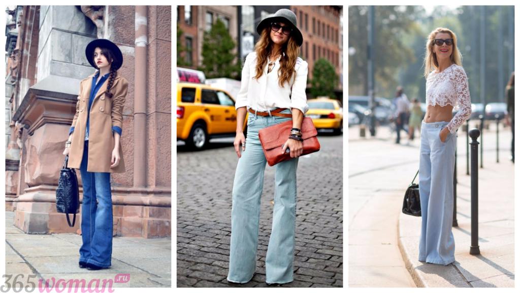 модные джинсы 2018 2019 новинки тренды фото женские: расклешенные
