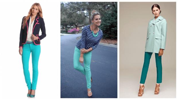 с чем носить стильные бирюзовые брюки
