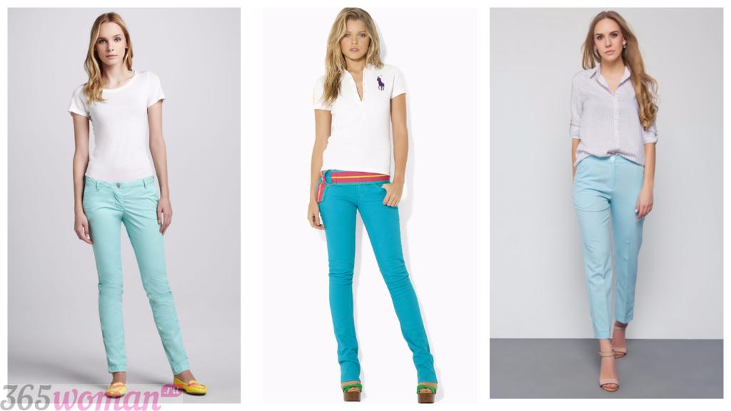 летние бирюзовые брюки с чем носить