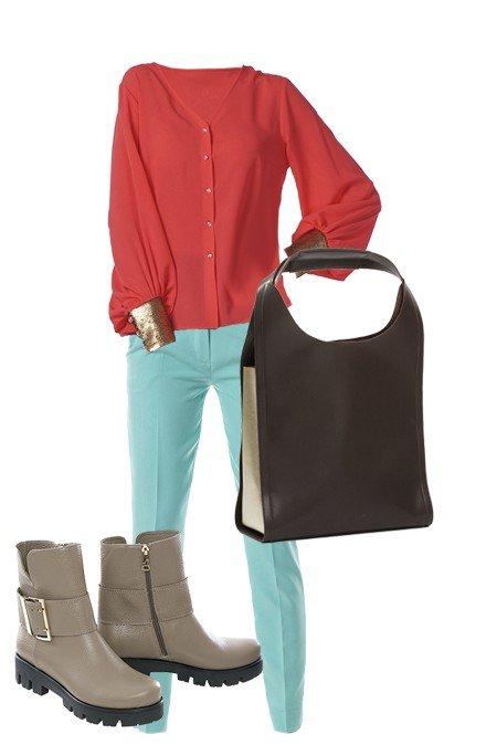 с чем носить: образ с бирюзовыми брюками