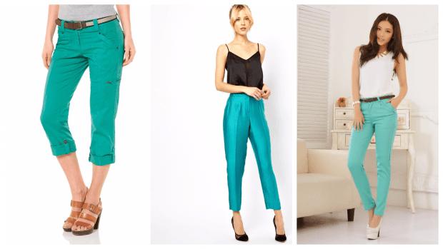 стильные бирюзовые брюки с чем носить