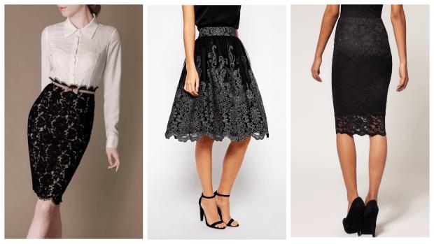 кружевная гипюровая юбка карандаш с чем носить фото