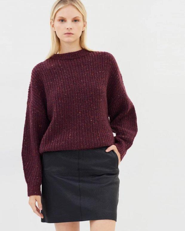 Модные юбки осень-зима 2019 2020: черная выше колена