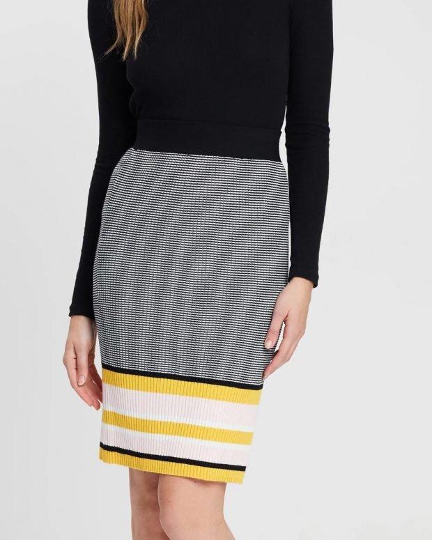 Модные юбки осень-зима 2019 2020: клетка полоска