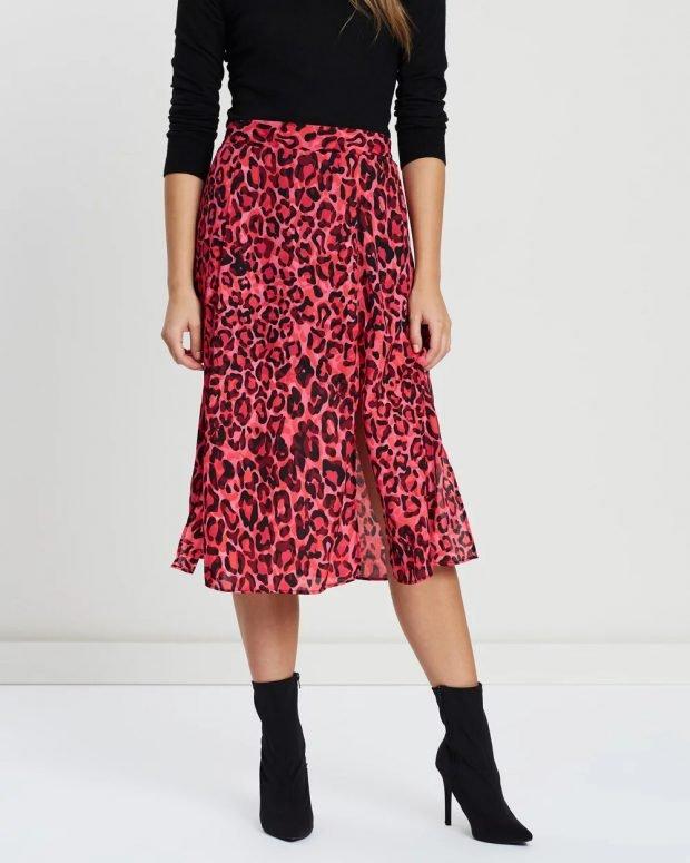 Модные юбки осень-зима 2019 2020: красная леопард