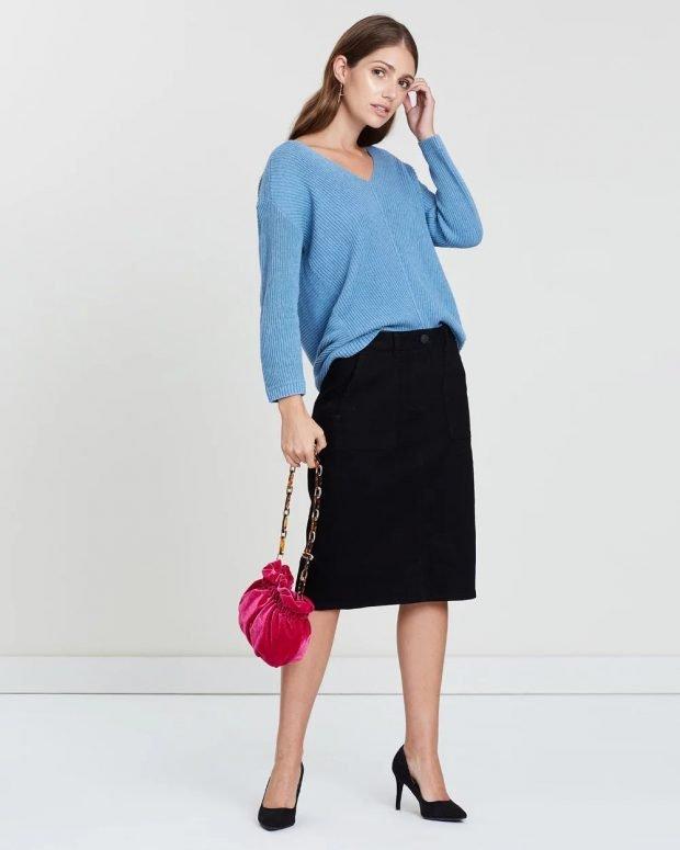 Модные юбки осень-зима 2019 2020: черная миди