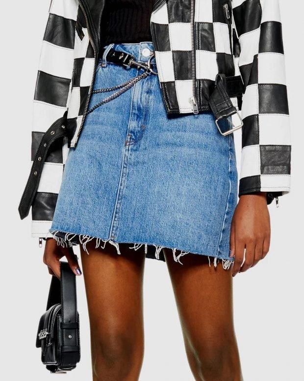 Модные юбки осень-зима 2019 2020: джинсовая с поясом