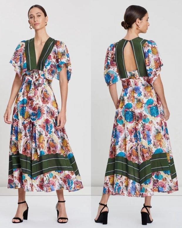 платья весна-лето 2021: белое с цветами