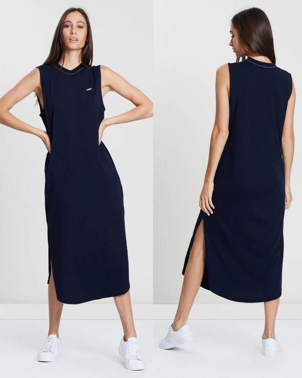 модные платья лето 2021: темно-синее