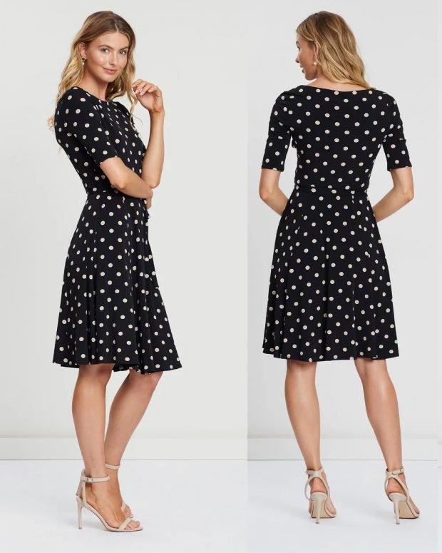 модные платья лето 2021: черное в горох
