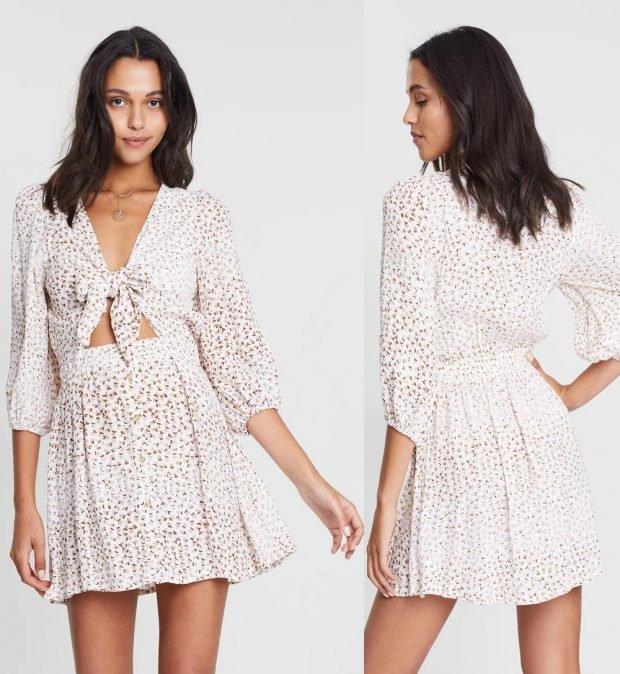 платья лето 2021: светлое в горошек