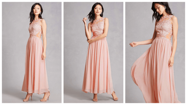 длинное нежно-розовое