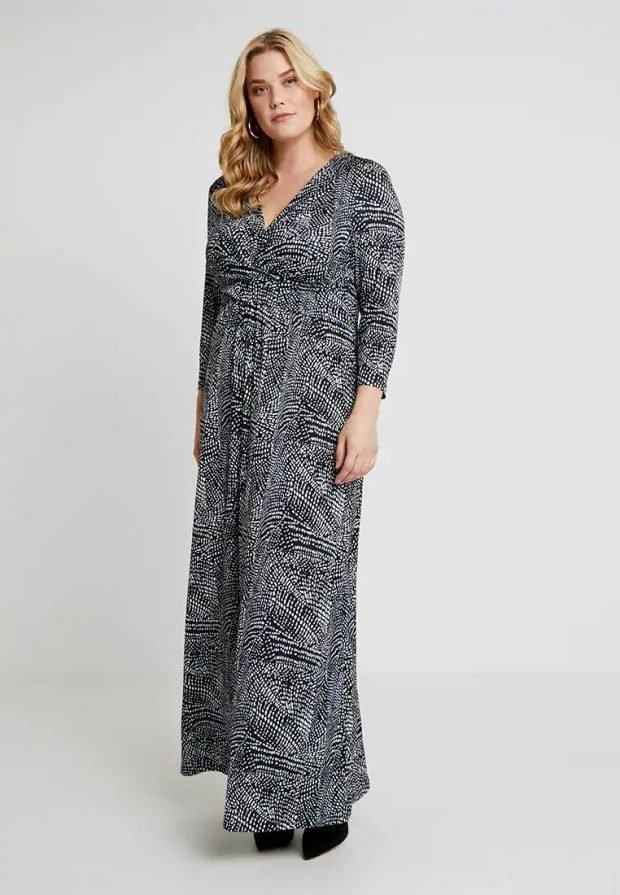 платья для полных женщин 2019 2020: черное с узорами