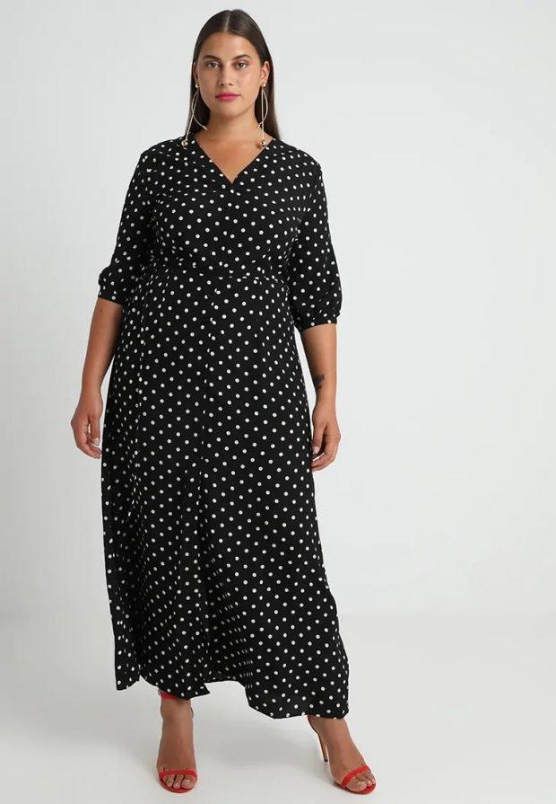 платья для полных женщин 2019 2020: черное в горошек
