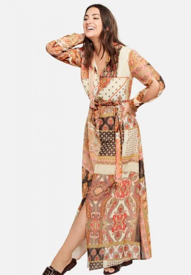 платья для полных женщин 2019 2020: коричневое длинное