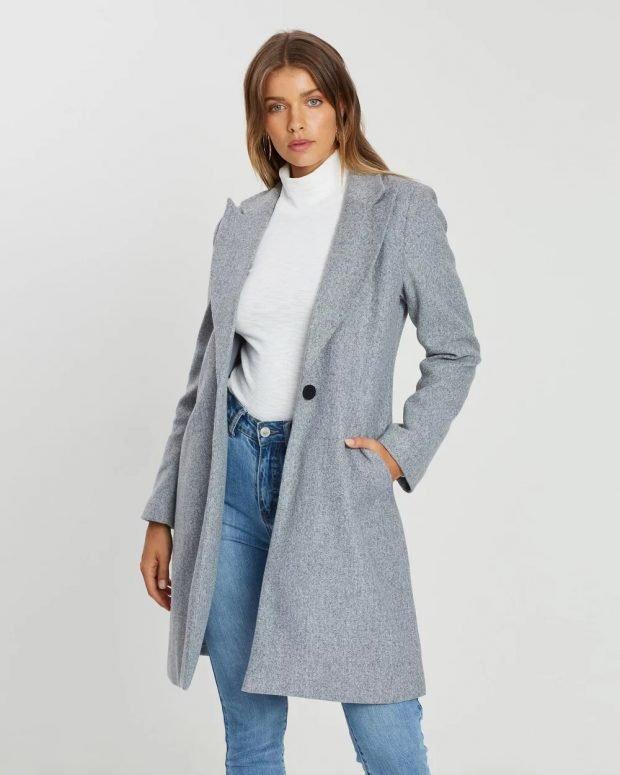 модные тенденции в одежде: серое пальто