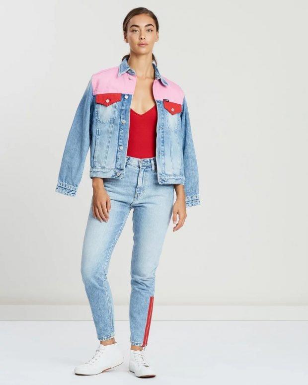 джинсовая розовые вставки